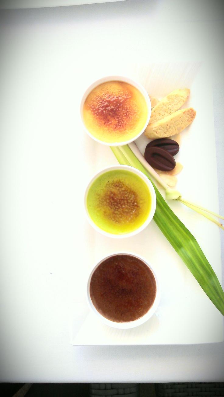 Trio Brulee - lemongrass, pandan and dark chocolate