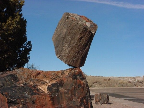 This spectacular balanced rock called One Balance Rock is located in Petrified Forest National Monument in Arizona, USA