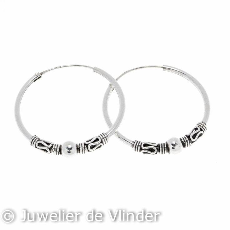 Zilveren creolen bewerkt 30 mm | Zilveren oorbellen | Juwelier De Vlinder | ruim assortiment zilveren sieraden