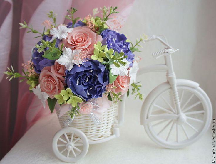 Купить Белый велосипед с нежными цветами - бледно-розовый, велосипед, цветы, цветы ручной работы