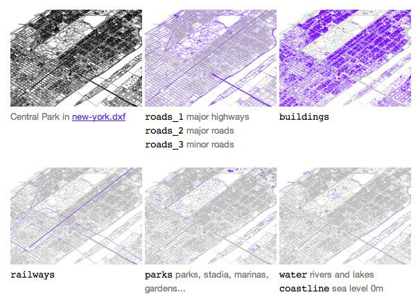 Image 1 of 1 from gallery of Free CAD Files of 241 Major World Cities. Image of the layers in the New York CAD file via bdon.org
