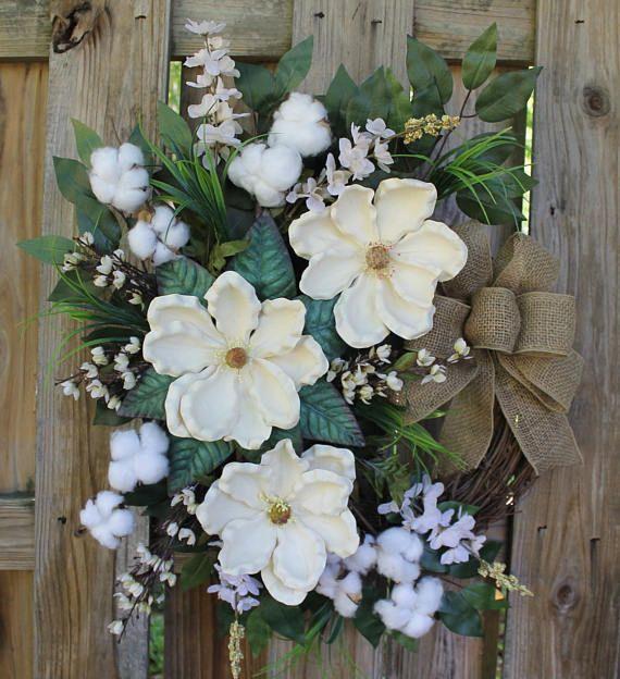 Magnolia Door Wreath Mother's Day Gift Magnolias and