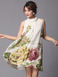 Fascinante robe vintage multicolore rétro moyenne imprimé florale quotidienne …