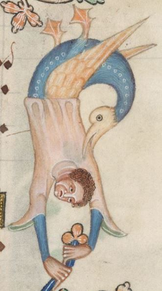 Detail from The Luttrell Psalter, British Library Add MS 42130 (medieval manuscript,1325-1340), f208r