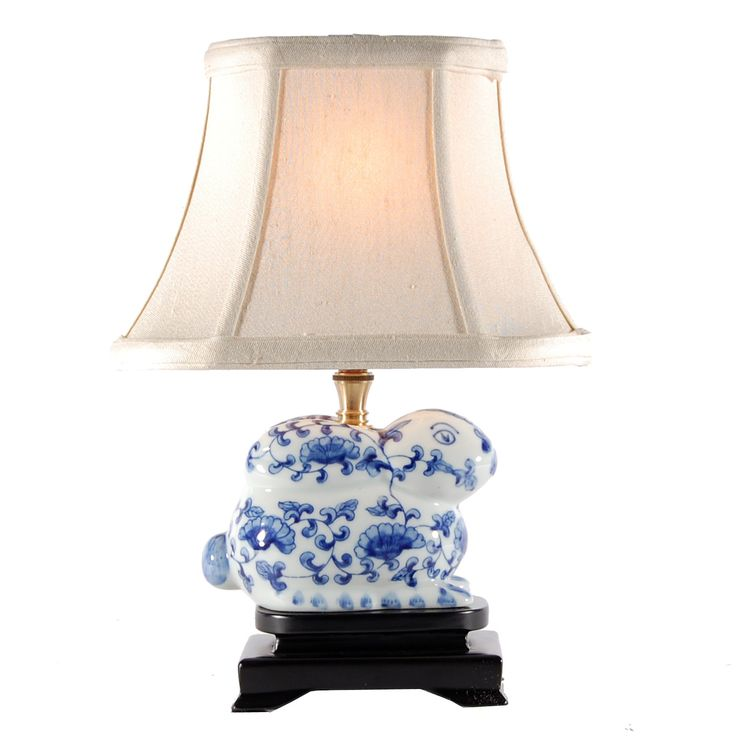 Small Blue White Bunny Rabbit Porcelain Lamp