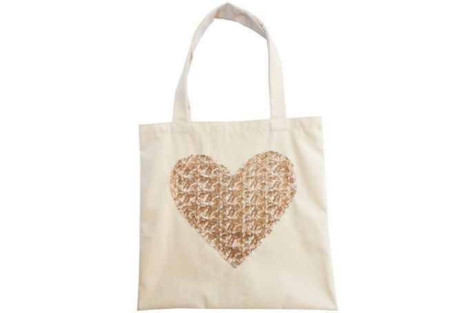 Sequin gold heart canvas tote bag by Tesi