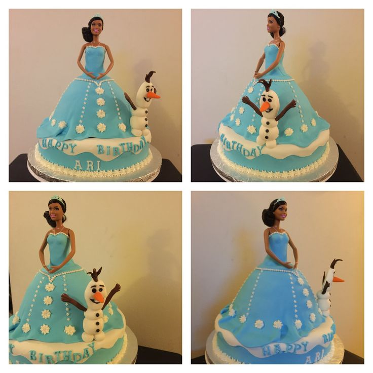 Todays cake work African American Elsa inspired by the