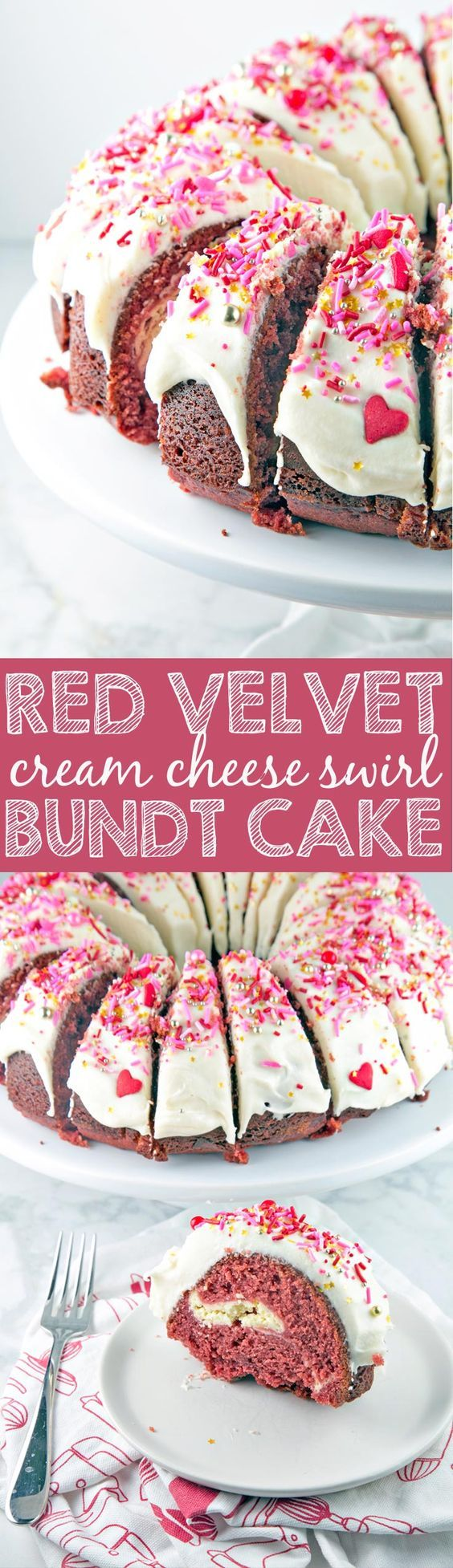 Red Velvet Bundt Cake: a traditional red velvet cake with a cream cheese swirl, mixed in one bowl. Perfect for Valentine's Day - or any day! via @bnsnbrnrbakery