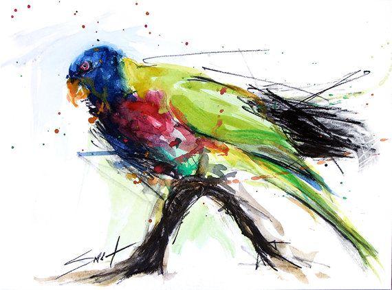 ACQUERELLO arte pappagallo  uccello dipinto uccello di SignedSweet