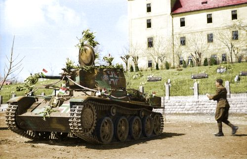M38 Toldi on Zsámbék。 The 38M Toldi was a Hungarian light tank, based on the Swedish Landsverk L-60B tank. It was named after the 14th century Hungarian knight Miklós Toldi.