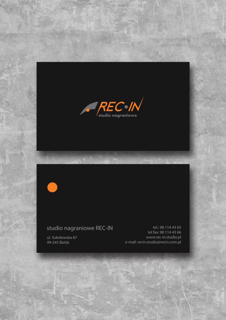 Business card for recording studio. REC-IN. - school project #school #concrete #businesscard #business #black #logotype #logo