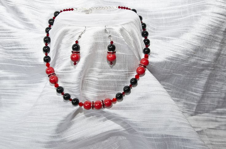 "Swarovski Earrings and Necklace ""Black and red"""