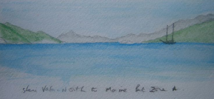 Water colour sketch looking north from Steni Vala.
