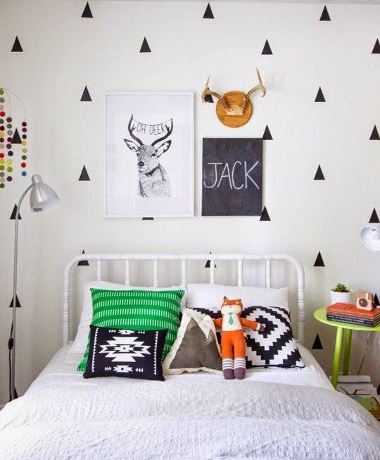 Kid's Room in black and white with pops of color.