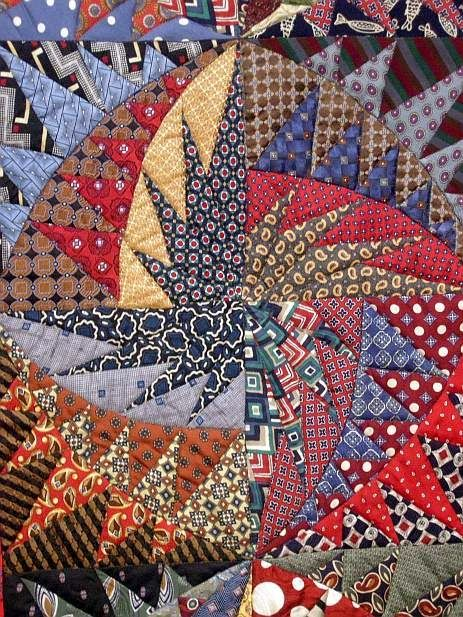 """I am finding myself drawn to more traditional patterns and quiltmaking techniques these days.  """"Recycled Ties: No Necks Needed"""" by Virginia ..."""