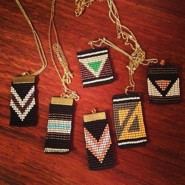 bead loom pendants | I should make these.for girlfriends of military, or for shadowboxes