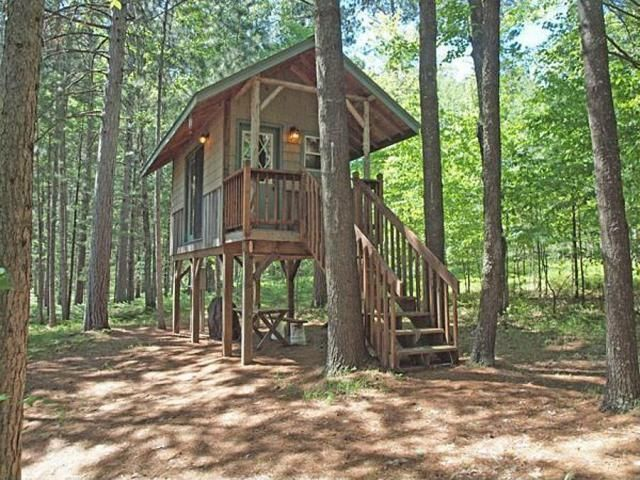 Tiny house on stilts w 5 acres and wood fired hot tub for Stilt homes for sale