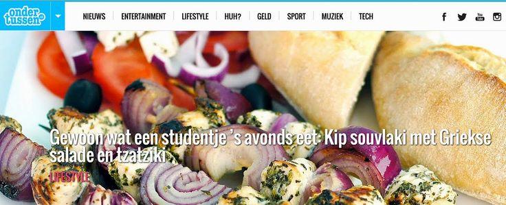 Ondertussen.nl: kip souvlaki met Griekse salade, ciabatta en tzatziki