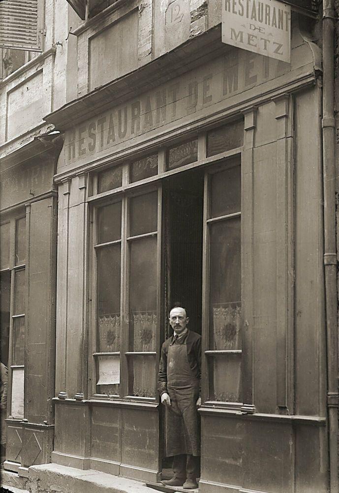 Photo ancien commerce Toulouse Restaurant Café de Metz tirage repro an.1920