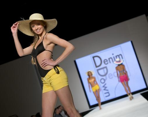A model from Denim Down Jeans walks the runway at the  Miami Beach International Fashion Week,  Miami Beach Convention Center, Miami Beach, Florida,  March 21, 2013. UPI/Gary I