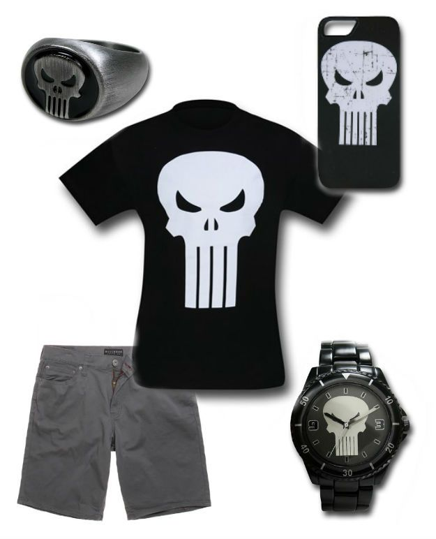 PUNISHER Outfit by Mary Huth Phone Case: http://www.superherostuff.com/punisher/iphone5/punisher-symbol-iphone-5-case.html?itemcd=cellpunsymip5 Ring: http://www.superherostuff.com/punisher/rings/punisher-brushed-nickel-ring.html?itemcd=jewlpunnklrng Watch: http://www.superherostuff.com/punisher/watches/punisher-symbol-black-watch-with-metal-band.html?itemcd=wtchpunblkmtl&utm_source=pinterest&utm_medium=social&utm_campaign=featuredoutfit