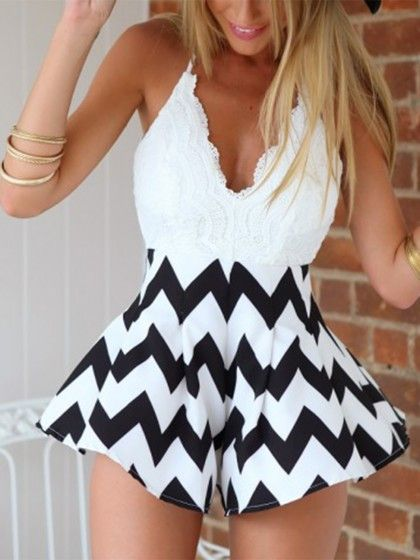 White and Black Lace Romper - Lyfie