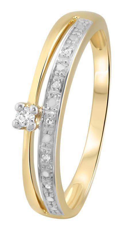 Geelgouden dubbele ring met diamant - Lucardi.nl