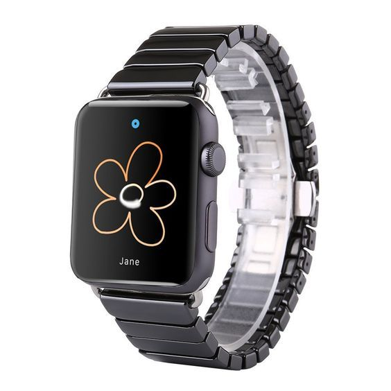 Apple Watch Replacement Wristband ENlife® 38mm Black Ceramic Classic Link Band With Double Folding Button Clasp Compatible With Apple Watch and Apple Watch Sport *** You can get more details here : Travel Gadgets