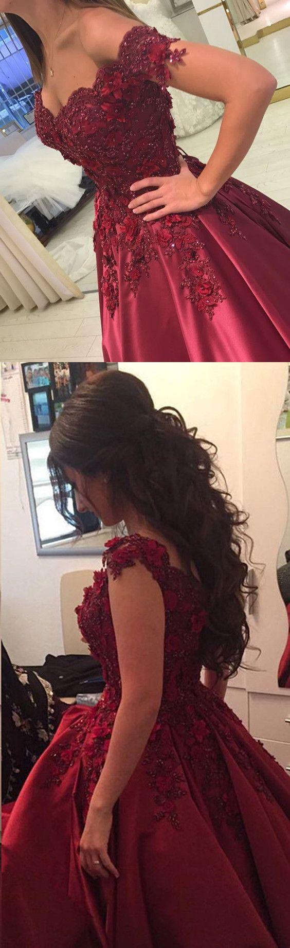 maroon prom dress,ball gowns prom dress,ball gown evening dress,satin prom dress,burgundy wedding dress,formal evening dress