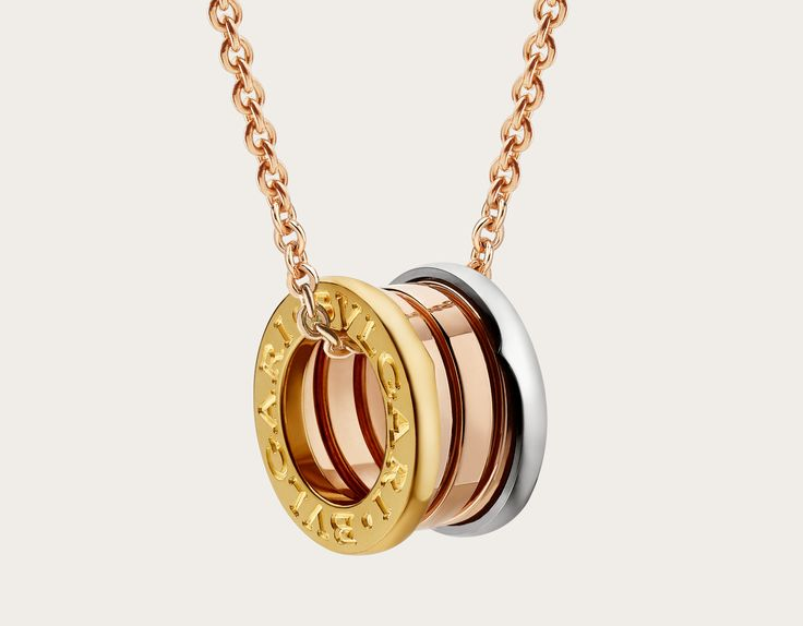 b.zero1 18k rose, yellow and white gold necklace