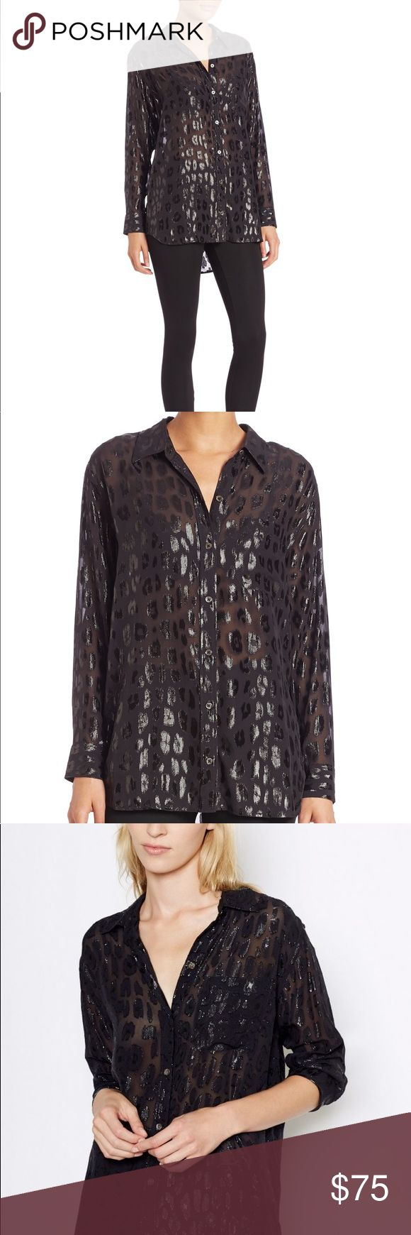 """Equipment Metallic Blouse Equipment Long Sleeve Blouse Textured Animal Print Sparkle Pattern Bust: 42"""" Shoulder: 17"""" Length: 29"""" Sleeve: 22"""" 77% Silk 23% Nylon Gently worn; great condition! Equipment Tops Blouses"""