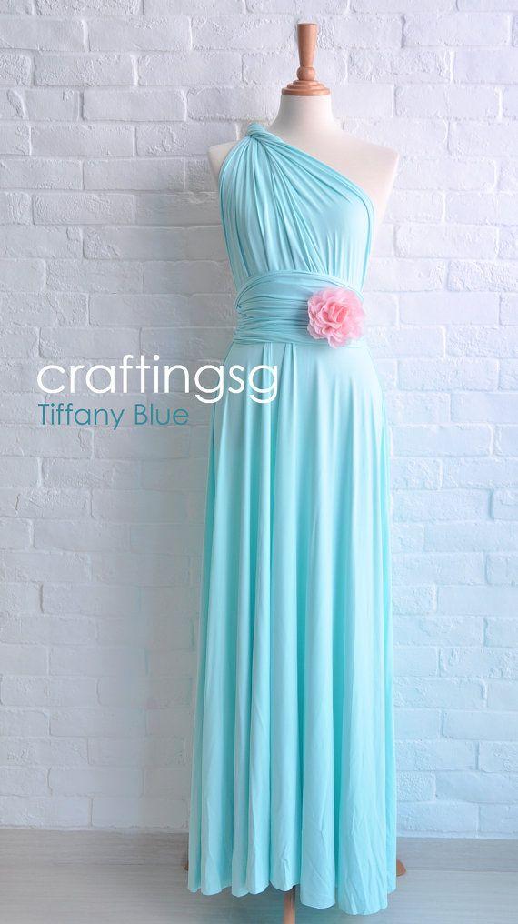 Brautjungfer Kleid Infinity Kleid Tiffany blau Boden Länge Cabrio Wickelkleid Hochzeitskleid/Brautkleid