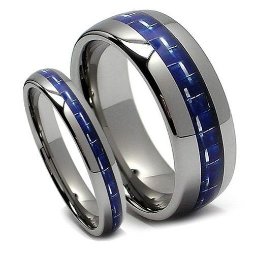 top value jewelry matching tungsten wedding band set his her blue carbon fiber