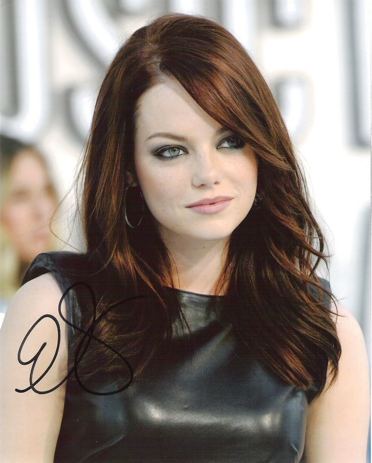 more emma stone hair. perhaps color it a darker auburn like this