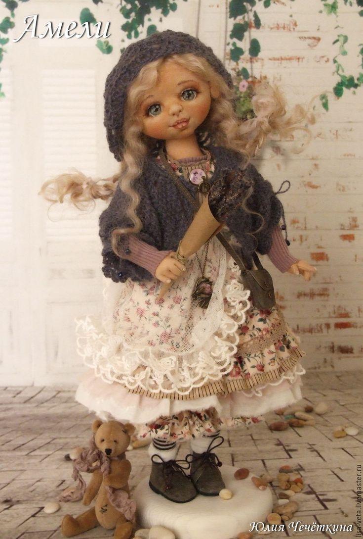 Купить Амели - сиреневый, лаванда, бохо, прованс, коллекционная кукла, текстильная кукла, авторская кукла