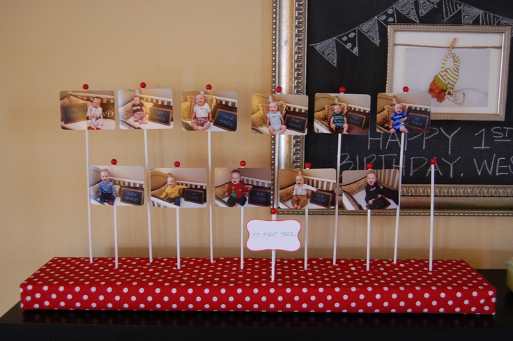 1st birthday picture stand... this could be really cute with cupcakes covering the bottom surrounding the sticks