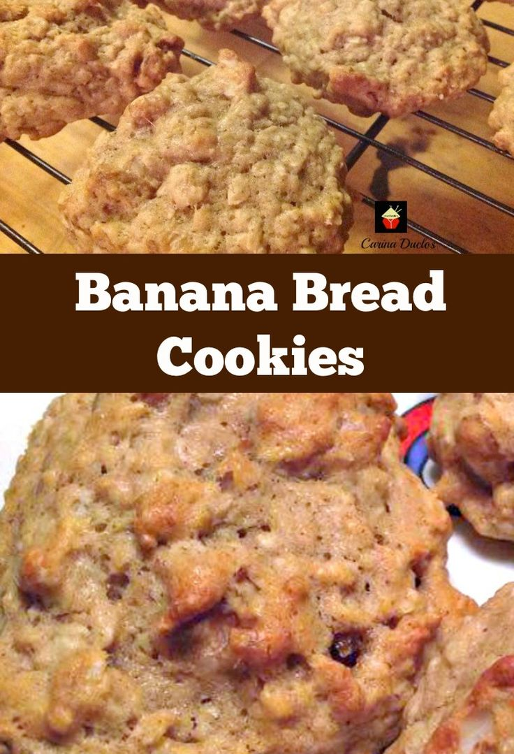 Banana Bread Cookies. Yep... banana bread in a cookie! Easy and flexible recipe. Great for snacks, breakfast, lunch boxes or anytime!   Lovefoodies.com