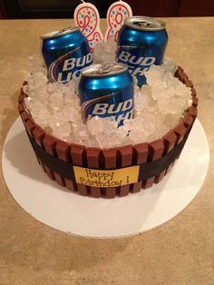 Beer cake! Made from kit kats and rock candy!!!! So easy.  Cullen's 2014 Birthday Cake?  (With better beer, of course!).