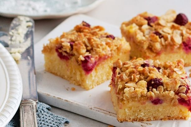 If you like fruit and custard, you'll love this coconut-based slice with real raspberries and a crunchy oat topping.
