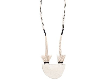 Half Round Porcelain pendant #1 by Julie Holmes  (Porcelain, sterling silver, waxed cotton, nylon thread)