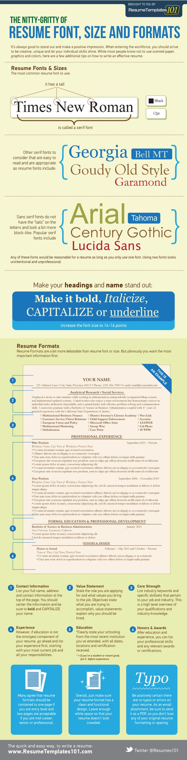 Infographic: Resume Font Guidelines | It's always good to stand out and make a positive first impression.    When entering the workforce, you should strive to be creative and unique, and let your individual skills shine.    While most people know not to use scented paper, graphics, and colors on their resume, not everyone thinks about the type of font.    Here's a neat infographic that does a great job showcasing proper resume font guidelines.