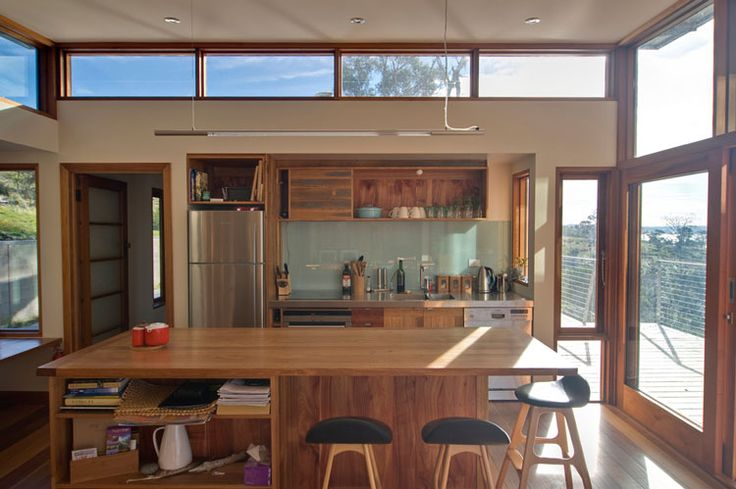 Bruny Shore House clerestory windows above the kitchen let in plentiful natural light