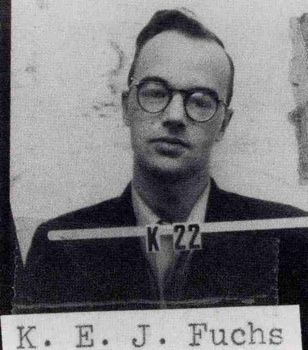 Klaus Emil Julius Fuchs (29 December 1911 – 28 January 1988) was a German theoretical physicist and atomic spy who in 1950 was convicted of supplying information from the American, British and Canadian atomic bomb research (the Manhattan Project) to the USSR during and shortly after World War II. http://en.wikipedia.org/wiki/Klaus_Fuchs