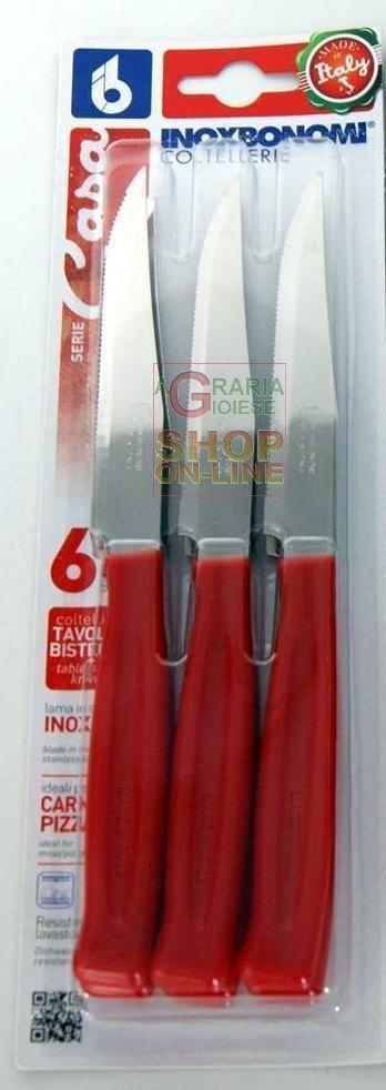 BONOMI SET COLTELLI DA TAVOLA E BISTECCA 6 PEZZI MANICO ROSSO http://www.decariashop.it/utensili-da-cucina/22089-bonomi-set-coltelli-da-tavola-e-bistecca-6-pezzi-manico-rosso-8007684820162.html