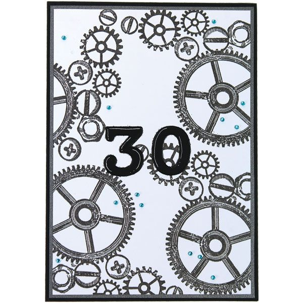 Rattaat on tehty korttiin leimailemalla. Numerot saat korttiin helposti ääriviivatarrojen avulla. Tarvikkeet ja ideat Sinellistä!