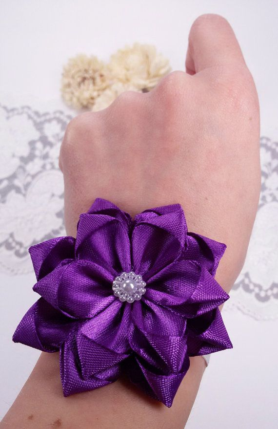 Purple wrist corsage wedding wrist corsage purple by Rocreanique