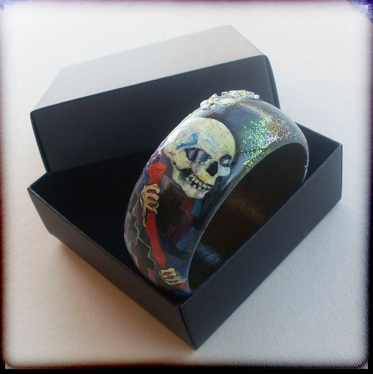 Bracelets, Bangles, Charms, Charm Bracelets, Handpainted, Hand painted, Wooden Bracelet, Wooden Bangle, Art nouveaum, DEATH, Klimt by allabouthandicraft on Etsy