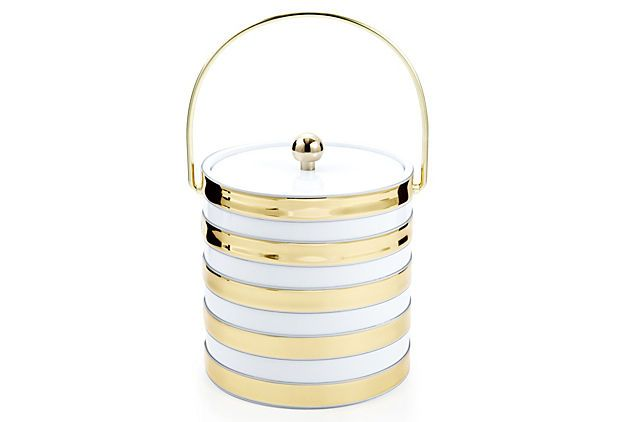 white and gold striped ice bucket - chic chic chic // $35. (comes in black too... can't decide which one i like best!)