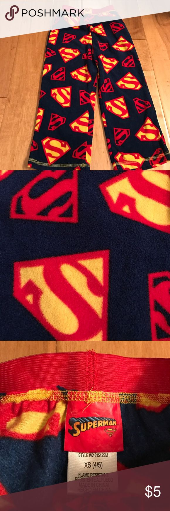 Never Worn Superman Fleece Pants Superman fleece pants is XS (4/5). Never worn! Superman Bottoms Sweatpants & Joggers