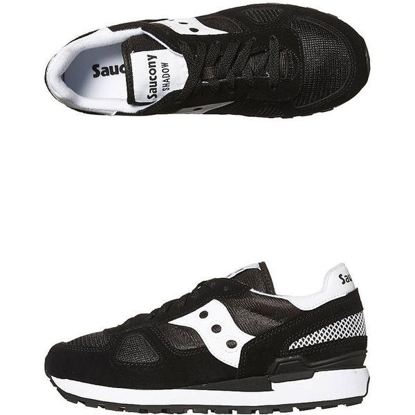 Saucony Shadow Original Womens Sneaker ($88) ❤ liked on Polyvore featuring shoes, sneakers, black, black shoes, retro shoes, saucony, rubber sole shoes and print sneakers
